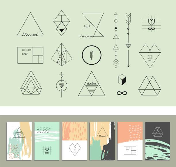 satz von geometrische formen und sechs vorlagen von creative-karten. - mosaikglas stock-grafiken, -clipart, -cartoons und -symbole