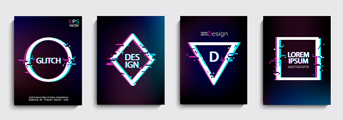 Set of geometric shapes, frames with glitch style.