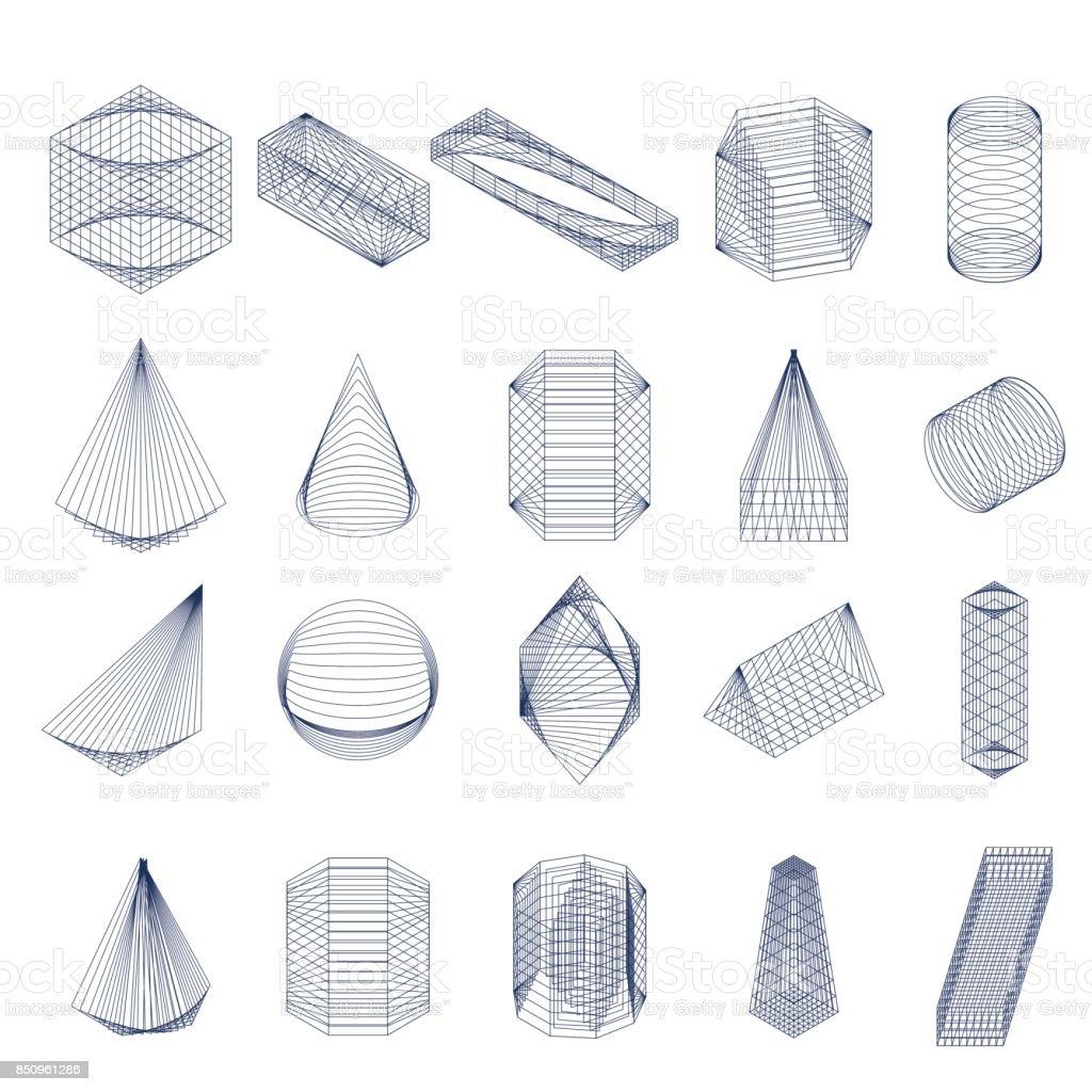 Set of geometric shapes. Isometric view. vector art illustration