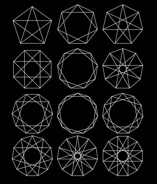 ilustraciones, imágenes clip art, dibujos animados e iconos de stock de conjunto de formas geométricas. geometría sagrada. líneas cruzan el polígono inscrito en un círculo. líneas negras sobre un fondo blanco. contornear marcos de mandala. forma de cristal. ilustraciones vectoriales - tatuajes de diamantes