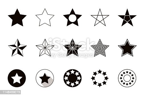 Set of geometric shapes stars, isolated on white background. Vector illustration