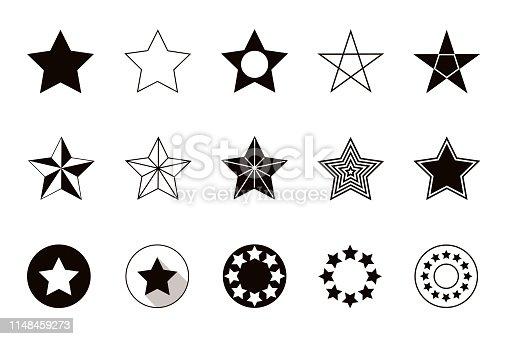 Set of geometric shapes stars, isolated on white background. Vector illustration