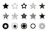 Set of geometric shapes stars, isolated on white background