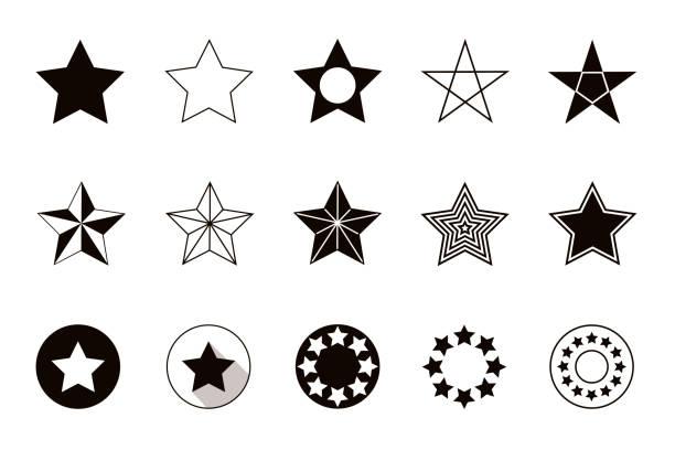 Set of geometric shapes stars, isolated on white background Set of geometric shapes stars, isolated on white background. Vector illustration stars stock illustrations