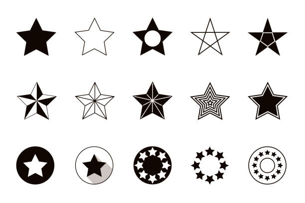 illustrazioni stock, clip art, cartoni animati e icone di tendenza di set of geometric shapes stars, isolated on white background - stelle