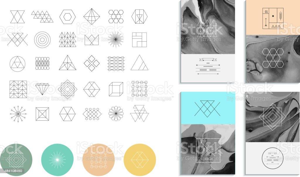 Juego de Formas geométricas. Moda retro hipster fondos - ilustración de arte vectorial