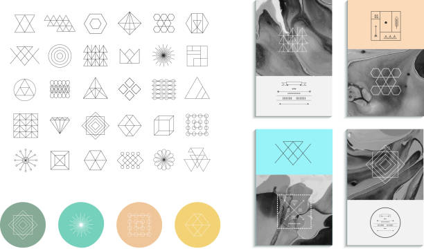 Set of geometric shapes. Trendy hipster retro backgrounds Set of geometric shapes. Trendy hipster retro backgrounds and logotypes. himbeeren stock illustrations