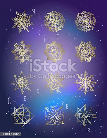 Set of geometric shapes. Vector isolated. Trendy logo or icons. Design of line figure. Linear symbol. Collection of gold line art. Sacred geometry. Neon colors background.