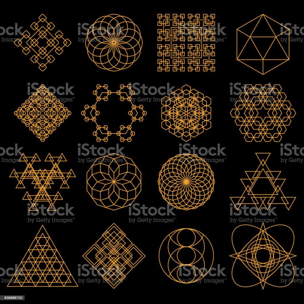 Set of geometric tattoo icons vector art illustration