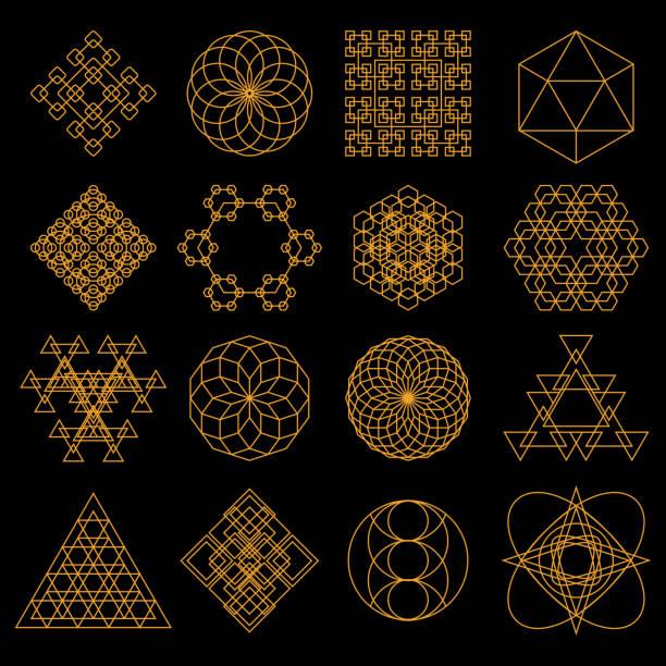 set of geometric tattoo icons - lodge member stock illustrations