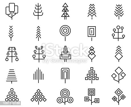 Set of geometric tree icon set , vector illustration