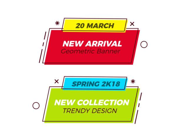 reihe von geometrischen trendige bannern mit lebhaften farben und retro-formen dünne linie. spaß-vektor-design für vertrieb und marketing. einfach, text durch nichts zu ersetzen, wie sie - preisschachtel stock-grafiken, -clipart, -cartoons und -symbole