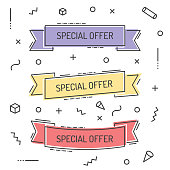Set of Geometric Vector Special Offer Ribbons in Trendy Style