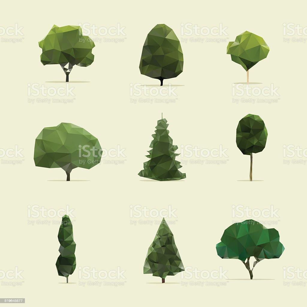set of geometric vector trees vector art illustration