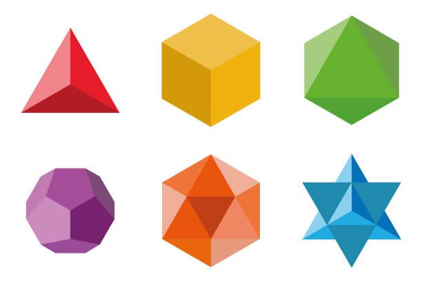 stockillustraties, clipart, cartoons en iconen met set geometrische elementen en vormen: piramide, kubus, octaëder, dodecaëder, icosaëder en davids star. heilige geometrie vector ontwerpen - veelvlakkig