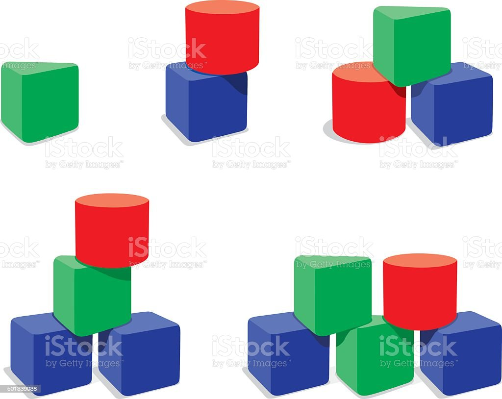 Set of geometry blocks combinations vector art illustration