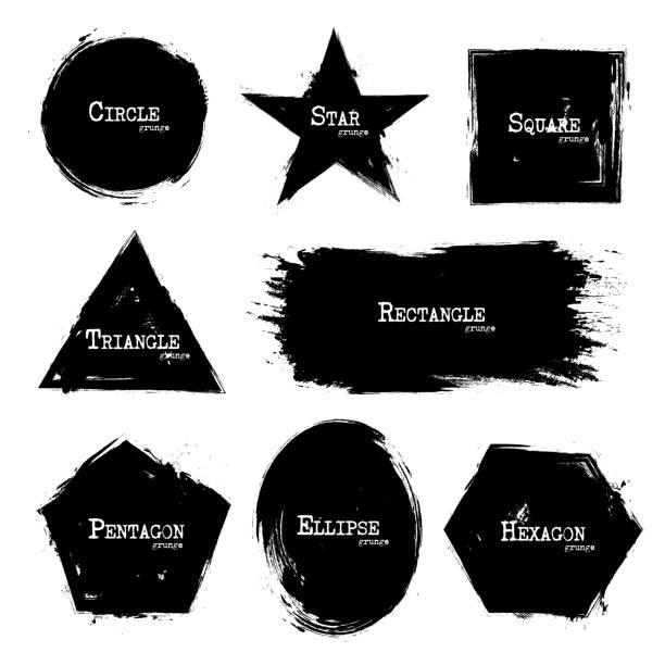 Set of Geometry shapes . Grunge style . Vector vector art illustration