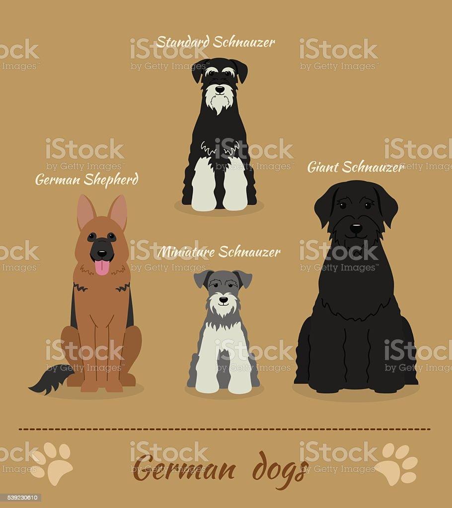 Set of German dogs vector art illustration