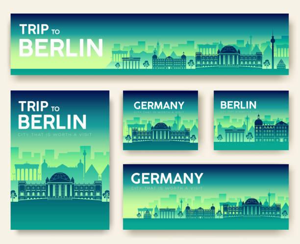 bildbanksillustrationer, clip art samt tecknat material och ikoner med uppsättning av tyskland liggande land prydnad resor tur koncept. kultur traditionella, flyer, tidningen, bok, affisch, abstrakt, element. vector dekorativa etniska gratulationskort eller inbjudan design - berlin street