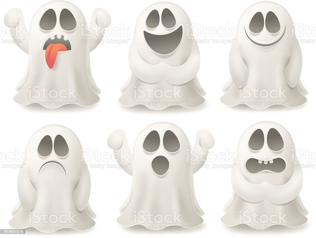 Set of ghost characters emoticons isolated on white background. vector art illustration