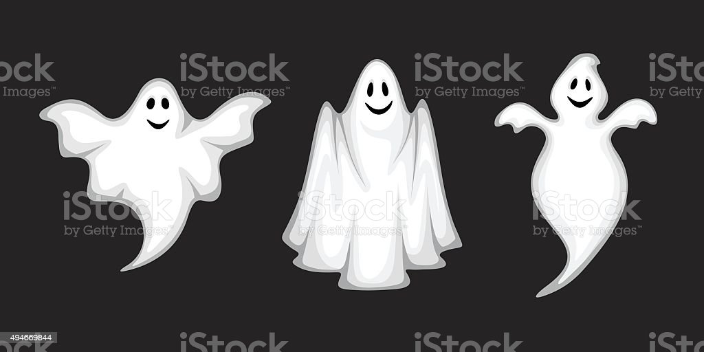 Set of ghosts isolated on black. Vector illustration. vector art illustration