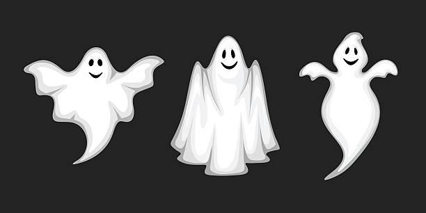 bildbanksillustrationer, clip art samt tecknat material och ikoner med set of ghosts isolated on black. vector illustration. - spöke