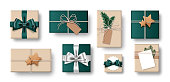 Set of gift box isolated on white background. Collection of craft-style gift present. Top view. Vector Illustration.