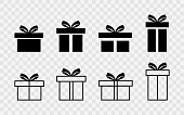 Set of gift boxes. Gift box collection with ribbons. Christmas gift icons isolated on transparent background. Vector illustration EPS 10.