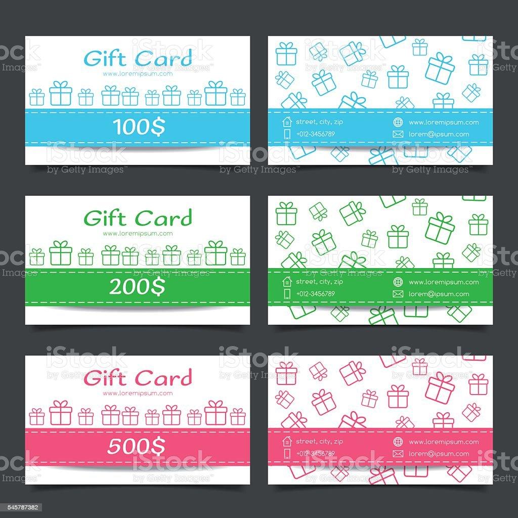 Set Of Gift Cards Discount Certificate Template Stok Vektor Sanati Afis Nin Daha Fazla Gorseli Istock