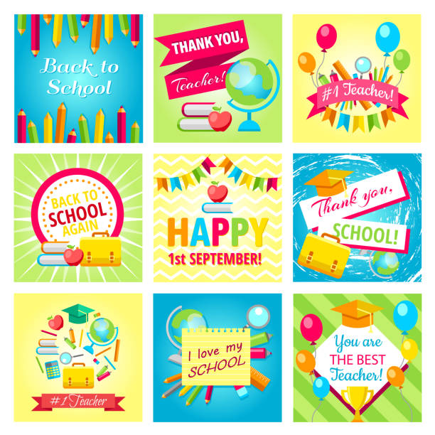 Set of gift cards for Teachers Day Set of gift cards for 1st September, Teachers Day, Back to school, School is soon. Vector illustrations collection. Holiday greeting cards design. Poster, banner concept for Back to school holiday thank you teacher stock illustrations