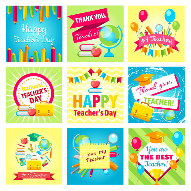 Set of gift cards for Teacher's Day. Vector illustrations collection. Set of gift cards for Teacher's Day. Vector illustrations collection. Happy Teacher's day - holiday greeting cards design. Poster, banner concept for Teacher's day with books, glasses, globe, pencils thank you teacher stock illustrations