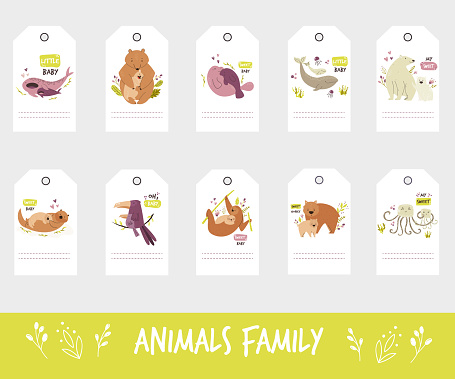 Set of gift tags and labels with cute animal families.