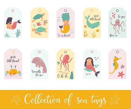 Set of gift tags and labels with cute sea animals and mermaids.