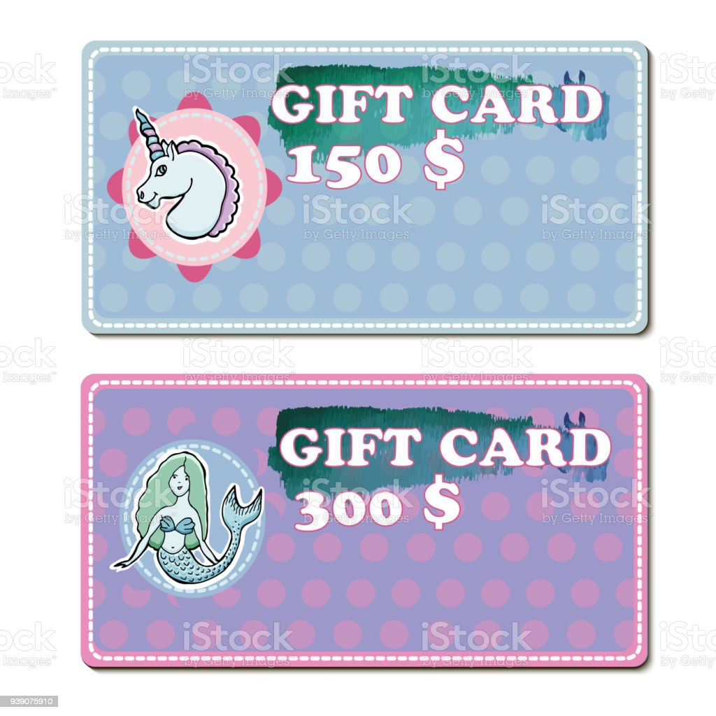 Set Of Gift Voucher Template To Kids Vector Illustration With ...
