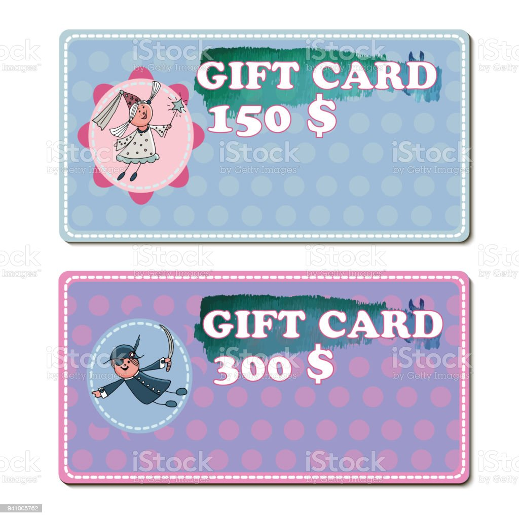 Set Of Gift Voucher Template To Kids Vector Illustration With