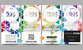 Set of modern gift voucher templates. Abstract colorful business background, modern stylish hexagonal and triangle vector texture