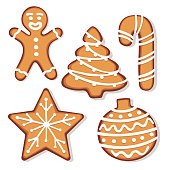 Set of gingerbread christmas cookie illustrations