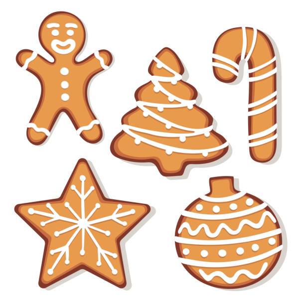 Set of gingerbread christmas cookie illustrations vector art illustration