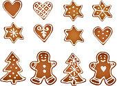 Set of gingerbread cookies. Decorative gingerbread man, stars, hearts, tree.
