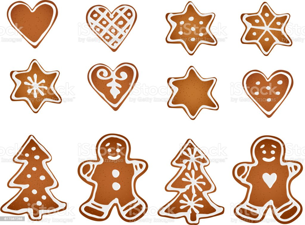 Set of gingerbread cookies. Decorative gingerbread man, stars, hearts, tree. vector art illustration