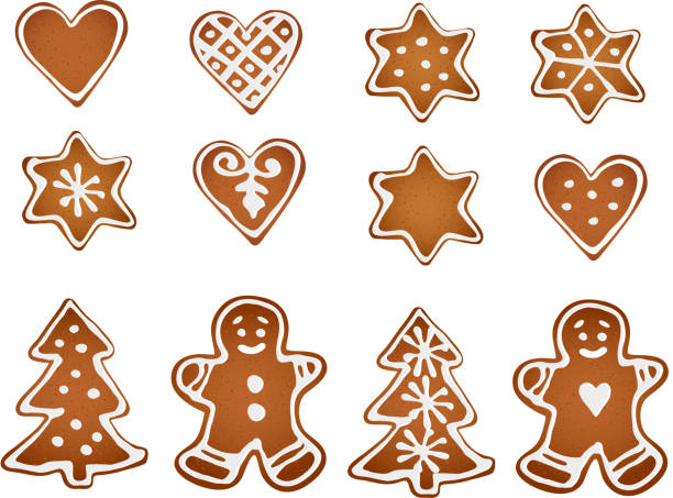 stockillustraties, clipart, cartoons en iconen met set of gingerbread cookies. decorative gingerbread man, stars, hearts, tree. - speculaas