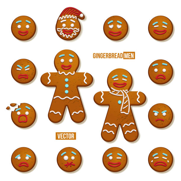 bildbanksillustrationer, clip art samt tecknat material och ikoner med pepparkakor män och pepparkaksgubbe ansikten. vector jul och nyår semester element. - pepparkaka