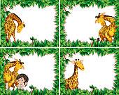 Set of giraffe in nature frame