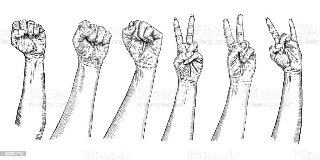 Set Of Girl And Man V Sign Hand And Freedom Fist Symbol Set Of