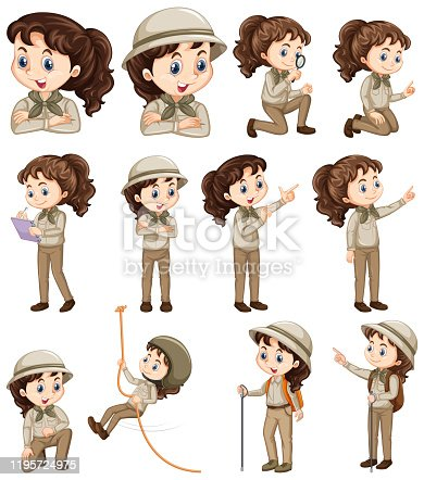istock Set of girl in safari costume doing different things 1195724975