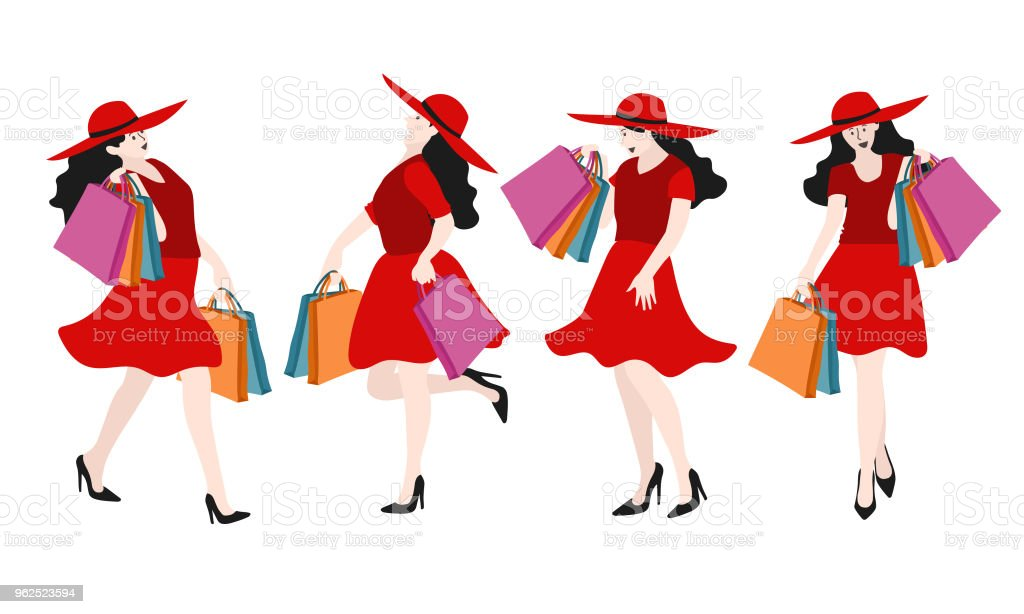 Set of girl is holding many shopping bag, vector illustration. - Royalty-free Adult stock vector