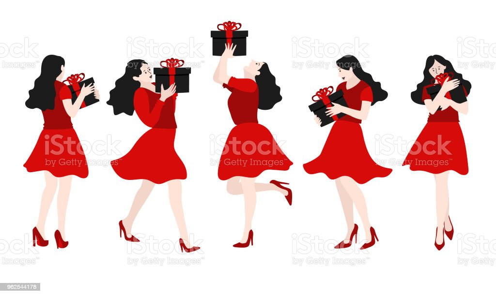 Set of girl is holding the gift box, vector illustration. - Royalty-free Adult stock vector