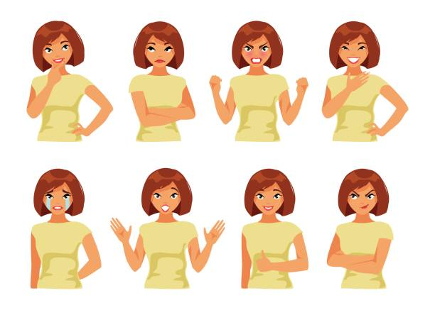 Set of girl with different emotions vector art illustration