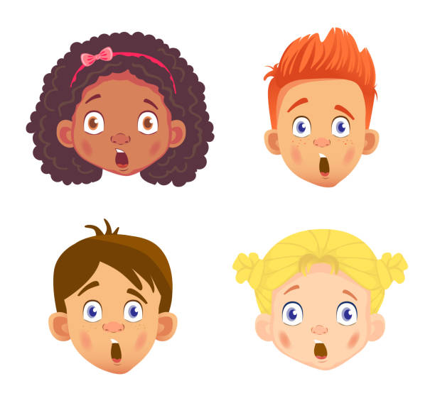 set of girls and boy character 4 - redhead stock illustrations, clip art, cartoons, & icons