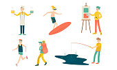Collection set of people engage in hobbies cooking, surfing, drawing, running, camping, fishing. Healthy lifestyle concept. Isolated icons set illustration on a white background in cartoon style.
